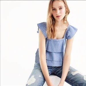 Pleated tiered ruffle JCrew top